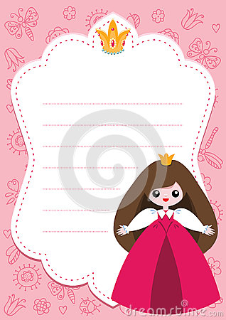 Carte rose de princesse