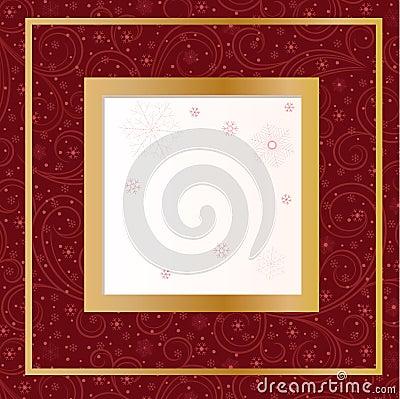 Carte rouge avec des flocons de neige