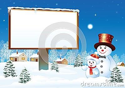 Cartelera de la Navidad con el muñeco de nieve