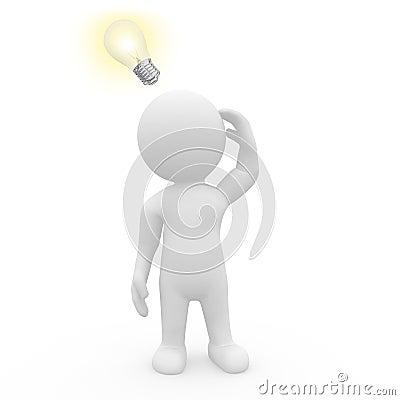 Caráter 3D com ampola iluminada