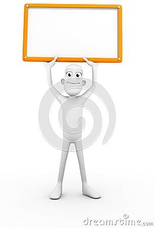 Caráter 3D com sinal em branco