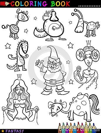 Caráteres da fantasia para o livro para colorir