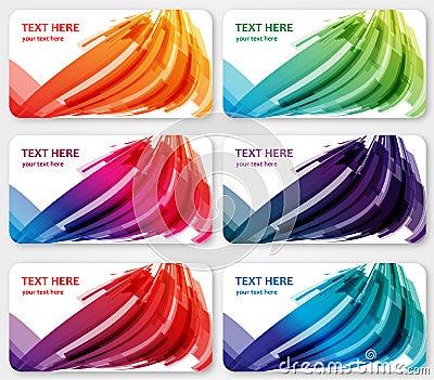 Cartões abstratos da visita das bandeiras das etiquetas da cor