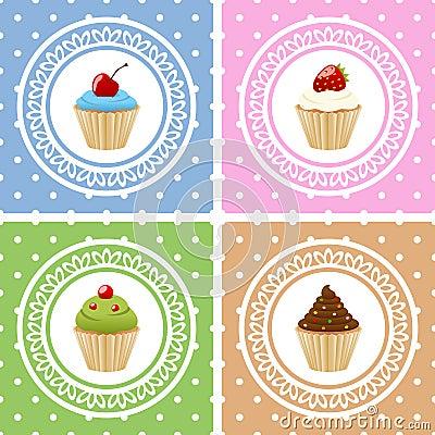 Cartes de joyeux anniversaire avec des petits gâteaux
