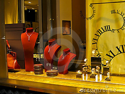 Cartier s shop window display on Champs Elysees Editorial Stock Photo