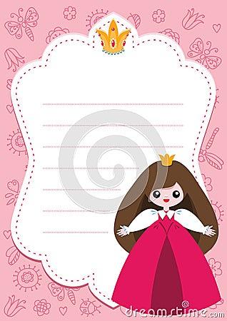 Cartão cor-de-rosa da princesa