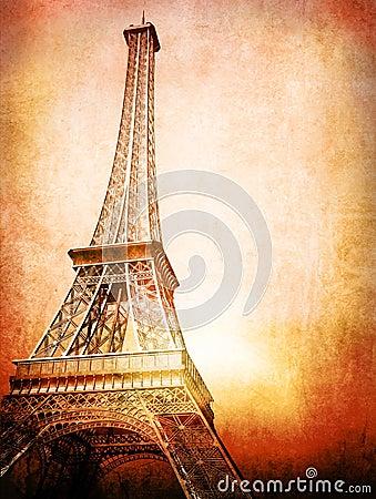 Cartão de Eiffel do vintage