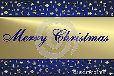 Cartão de Natal azul & dourado