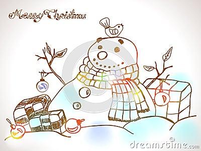 Cartão de Natal para o projeto do xmas com o boneco de neve tirado mão