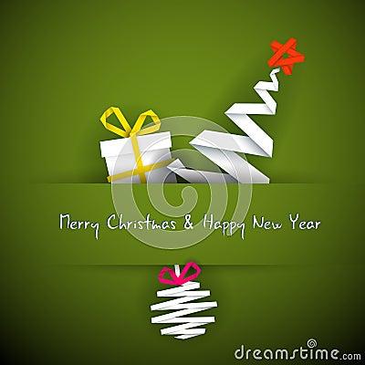 Cartão de Natal simples com presente, árvore e bauble