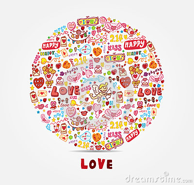 Cartão do amor dos desenhos animados