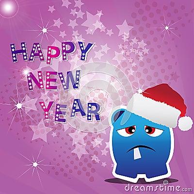Cartão do ano novo feliz com monstro