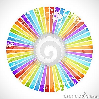 Cartão redondo do arco-íris do vintage