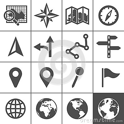 Cartography and topography vector icons Vector Illustration