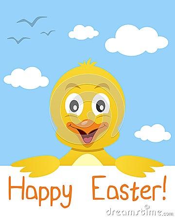 Cartolina d auguri del pulcino di Pasqua