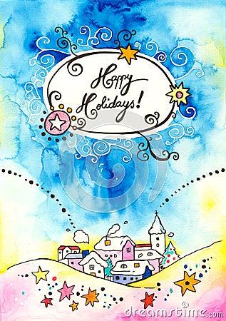 Cartolina d auguri felice di feste