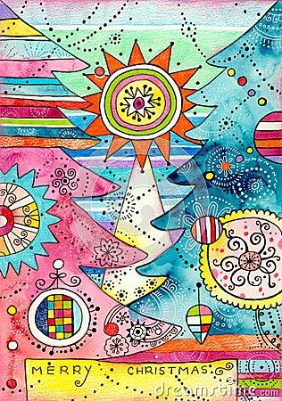 Cartolina di Natale con gli alberi decorativi