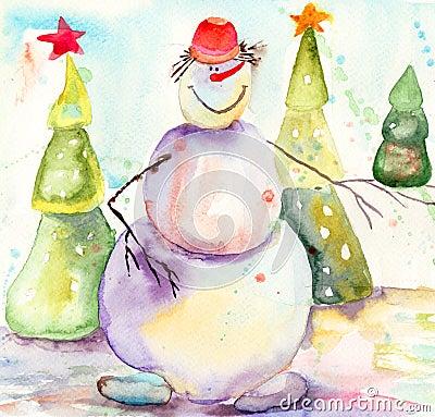 Cartolina di Natale con il pupazzo di neve