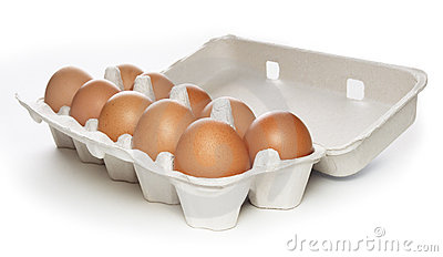 Carton box with brown eggs