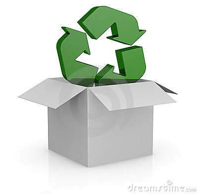 Carton box and recycling symbol