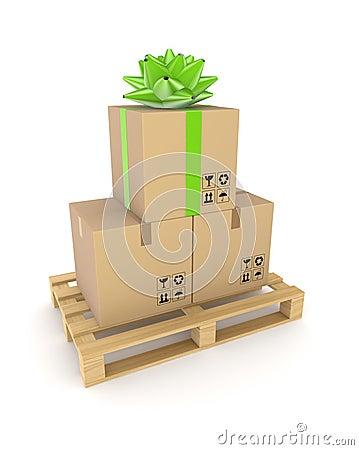 Carton box on a wooden pallet.