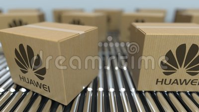 Carton boxes with Huawei logo move on roller conveyor  Conceptual editorial  loopable animation