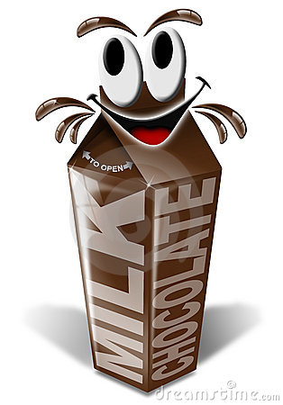 Carton and cartoon chocolate milk