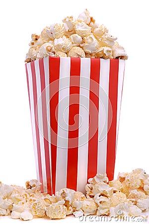 Carton of fresh popcorn