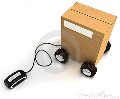Carton on wheels connected to a mouse