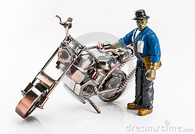 A carton worker and motocycle.