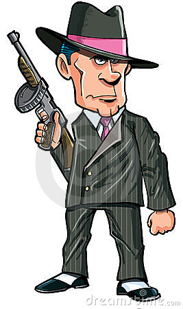 Cartoon 1920 gangster with a machine gun