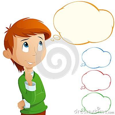 Free Cartoon Adorable Boy Thinking Isolated On White Royalty Free Stock Images - 21943129