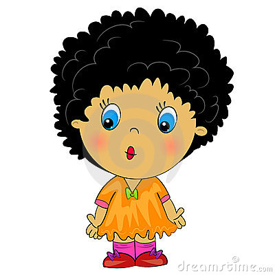Cartoon african girl. beauty brunette