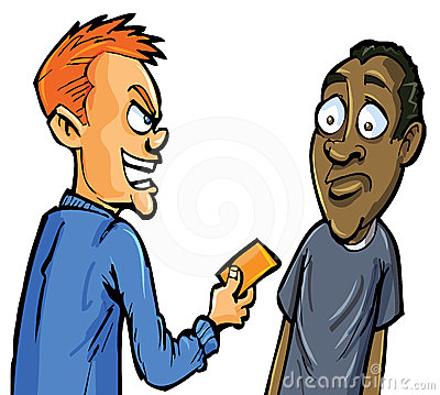 Cartoon aggressive man giving card