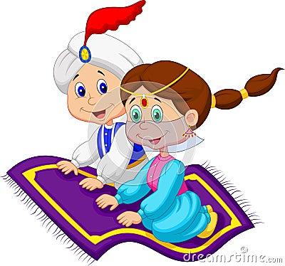 Cartoon Aladdin on a flying carpet traveling