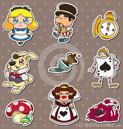 Cartoon Alice in Wonderland stickers