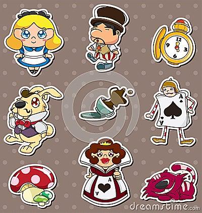 Cartoon Alice in Wonderland stickers
