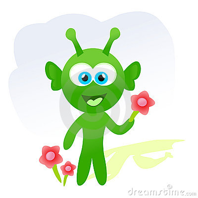 Cartoon alien with flowers