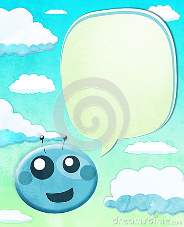 Cartoon Alien kid with balloon text