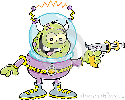 Cartoon alien with a ray gun
