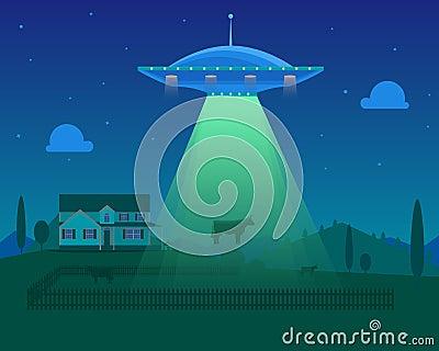 Cartoon Aliens Spaceship or UFO Takes Cow. Vector Vector Illustration
