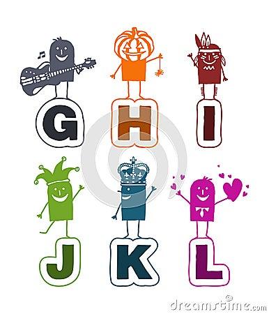 Cartoon alphabet - G to L