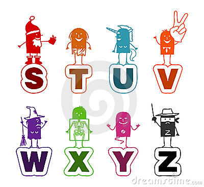 Free Cartoon Alphabet - S To Z Stock Images - 11791554