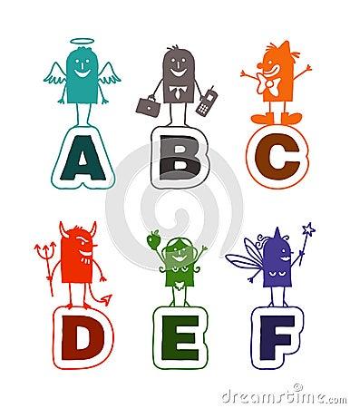 Cartoon alphabet - A to F