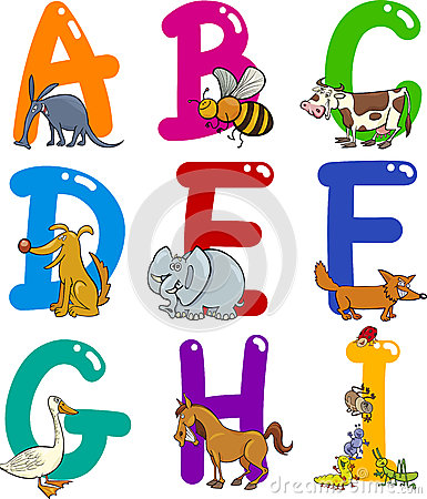 Free Cartoon Alphabet With Animals Stock Photos - 24735323