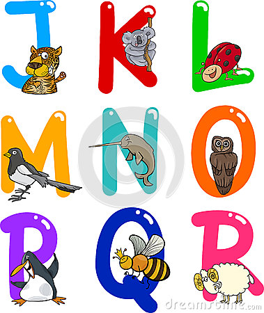 Free Cartoon Alphabet With Animals Stock Image - 24735381