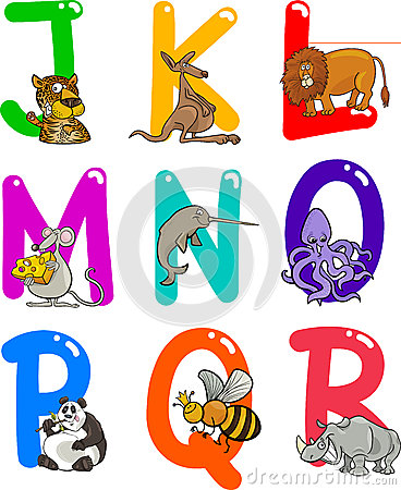 Free Cartoon Alphabet With Animals Stock Image - 24735401