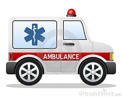 Cartoon Ambulance Isolated White Background File