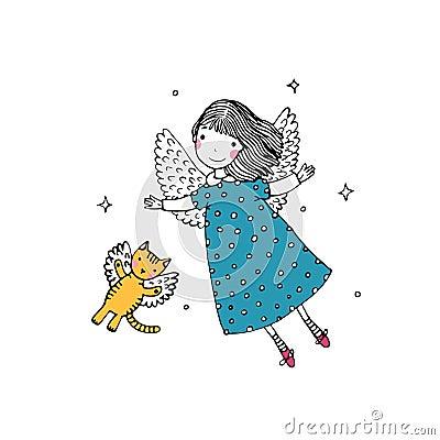 Free Cartoon Angel And Cat Royalty Free Stock Image - 73495846