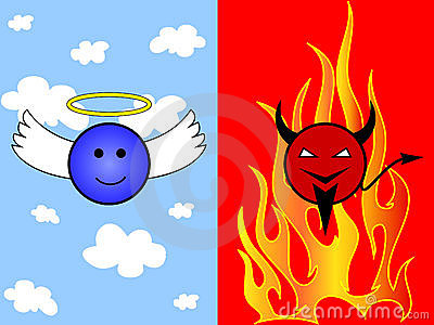 Cartoon of angel and devil